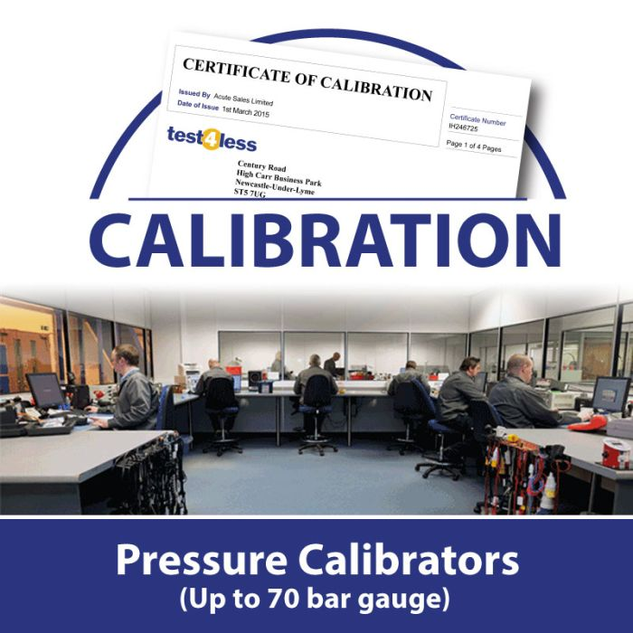 Pressure Calibrator Calibration (up to 70 bar gauge)