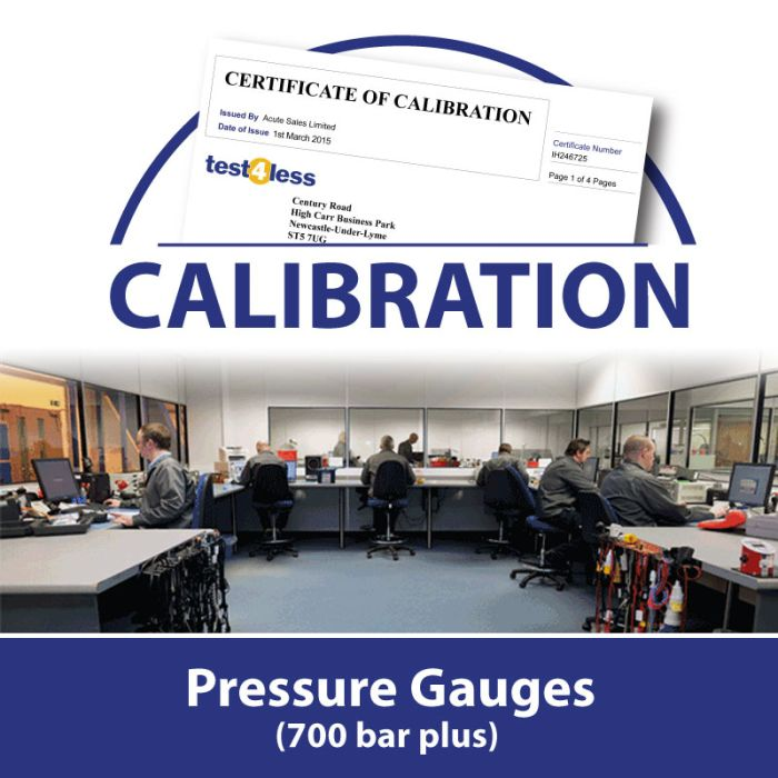 Pressure Gauge Calibration (700 bar plus)