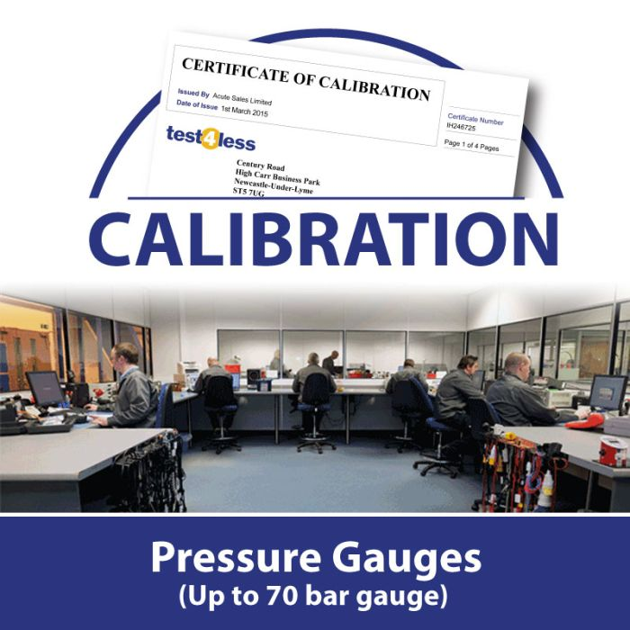 Pressure Gauge Calibration (up to 70 bar gauge)