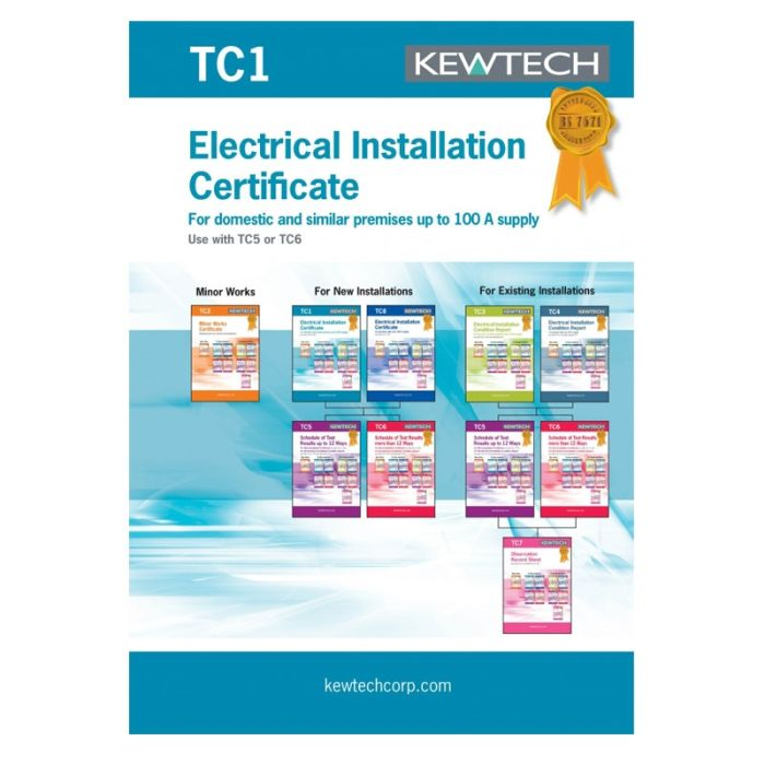 Kewtech Electrical Test & Installation Cert 42pgs (TC1)