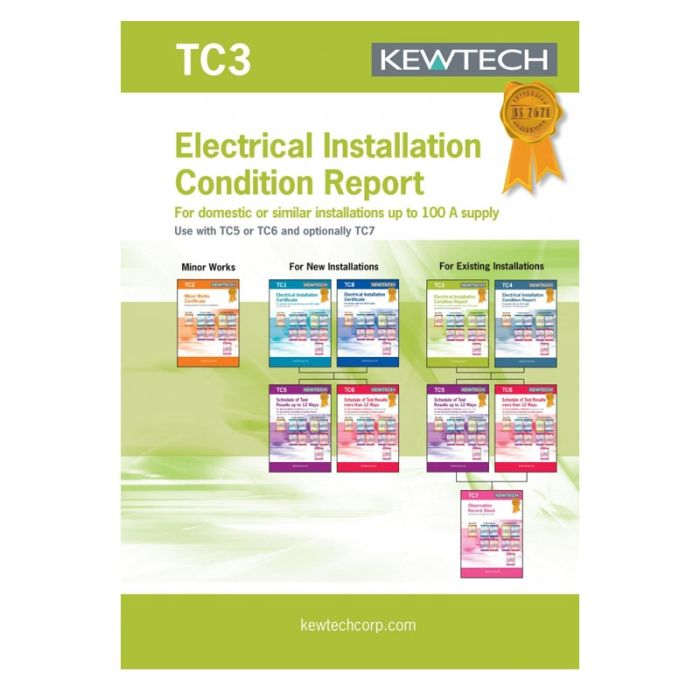 Kewtech Electrical Installation Condition Report 40pgs (TC3)