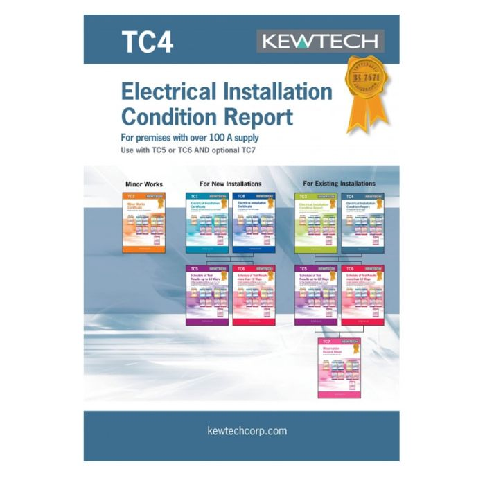 Kewtech Condition Report Inspection Schedule upto 100A (TC4)