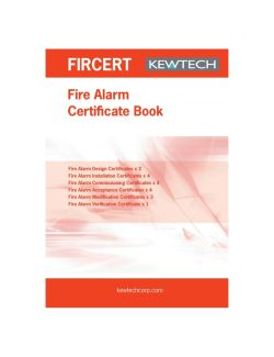 Kewtech Fire alarm Certification Book - FIRCERT